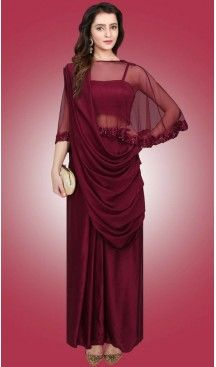 Party Wear Readymade Gown In Crepe Silk Maroon Color   FH524379382 #gowns , #designer , #womens , #wedding , #evening , #party , @heenastyle , #readymade , #online , #fashion , #boutique , #silk , #dress , #indian , #shopping , #ceremony , #heenastyle , #ladies , #wear , #reception , #highfashion , #eveninggowns