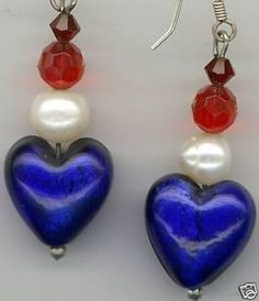 Red White Blue Lampwork Swarovski Pearl Sterling Silver Earrings by AGreenWoods on Etsy