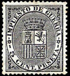 I REPÚBLICA - AÑO 1874. Escudo de España. Sellos de impuesto de guerra.