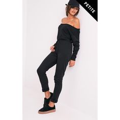 Petite Betty Black Off The Shoulder Jumpsuit ($9.05) ❤ liked on Polyvore featuring jumpsuits, black, petite jumpsuit, off the shoulder jumpsuit, off shoulder jumpsuit and jump suit