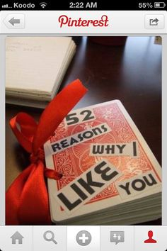 """Replicated this for my boyfriend. Used a hole punch and ribbon, but changed the word """"like"""" to """"love""""."""