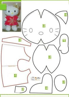 Moldes Hello Kitty - Ver e Fazer Cat Crafts, Sewing Crafts, Sewing Projects, Stuffed Animal Patterns, Stuffed Animals, Felt Patterns, Sewing Patterns, Peluche Hello Kitty, Plush Pattern