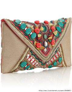 Gem Salinas Beaded Clutch Bright and fun embellished envelope clutch with large turquoise beading, pink pom poms and bright beading and gems. Pink lining with inner pocket and magdot fastening. Beaded Clutch, Beaded Bags, My Bags, Purses And Bags, Boho Bags, Envelope Clutch, Handmade Bags, Beautiful Bags, Clutch Purse