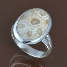 925 SOLID STERLING SILVER EXCLUSIVE Fossil Coral FINE RING 5.51g R9539 SZ-7.75 #Handmade #Ring