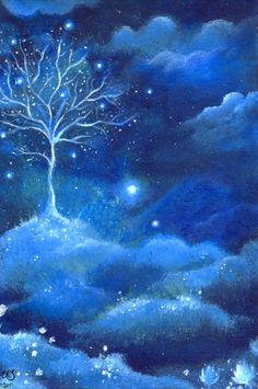 . Blue Art, Color Blue, Pics Art, Fantasy World, Tree Of Life, Oeuvre D'art, Shades Of Blue, Blues, Scenery
