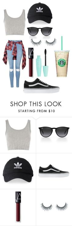 Untitled #491 by marypogosian ❤ liked on Polyvore featuring Topshop, Ray-Ban, adidas, Vans, NARS Cosmetics and Unicorn Lashes