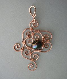 Copper Swirl Hammered Spiral Wire Filigree Pendant -- Wire Wrapped Filigree with Black Glass