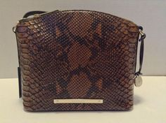 Brahmin Mini Duxbury Crossbody Tortoise Seville Python Embossed Leather | eBay