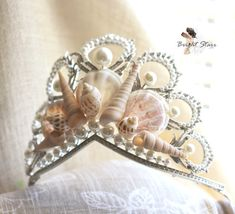 Mermaid Crowns shell crown pearl wedding by BrightStarrCoutureCo