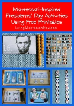 LOTS of Free Presidents' Day printables and ideas for creating Montessori-inspired Presidents' Day activities using free printables