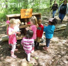 Music area in an outdoor classroom at the certified Nature Explore Classroom in Kentucky.