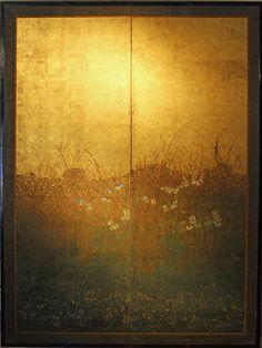 Paravento a due ante di scuola Rinpa, dipinto a pigmenti minerali su foglia d'oro. Dimensioni 130 x 172. Giappone Edo, secolo XVIII°.