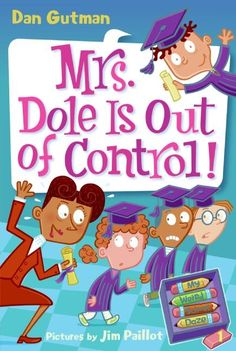 My Weird School Daze #1: Mrs. Dole Is Out of Control!  Notes:  Ryan's Mom & new OTA President (embarrasses him a lot)--tells them to get gifts for Mrs Daisy. Mostly got bonbons. 2nd grade graduation. Had speeches, Pres Clinton, former teacher turned rapper Mr Hynde, doves flying, fly by & a petting zoo. AJ accidentally started a fire...animals escaped, Emily caught fire, cake fell, Mrs D fainted...turns out she's having a baby.