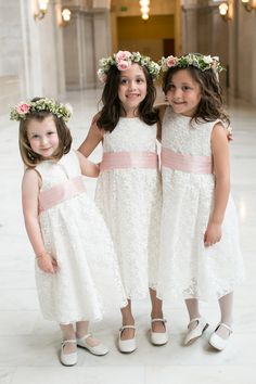 Photographed by Josh Gruetzmacher and planned by Dream A Little Dream, this spring wedding had a color palette of gray, green, lavender and purple. Cute Little Girl Dresses, Girls White Dress, Girls Dresses, Pageant Dresses, Party Dresses, Flower Girl Bouquet, Lace Flower Girls, Flower Girl Dresses, Wedding Dresses For Kids