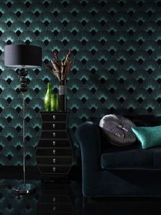 Geometric fan shaped design in a typical Art Deco style. Shown here in turquoise but also available in duck egg and white. http://www.wowwallpaperhanging.com.au/art-deco-wallpaper/