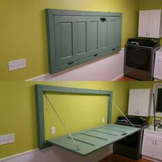 Turn old door into folding table in laundry room. I must have this!