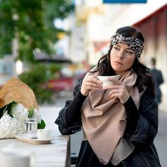 hot chocolate weather is wearing our KUKLA rosèmunde beiger as a scarf The perfect look for cold December days photographer: HMUA: turban: Every Woman, Turban, Vienna, Sustainable Fashion, Hot Chocolate, Style Fashion, Wrap Dress, December, Women Wear
