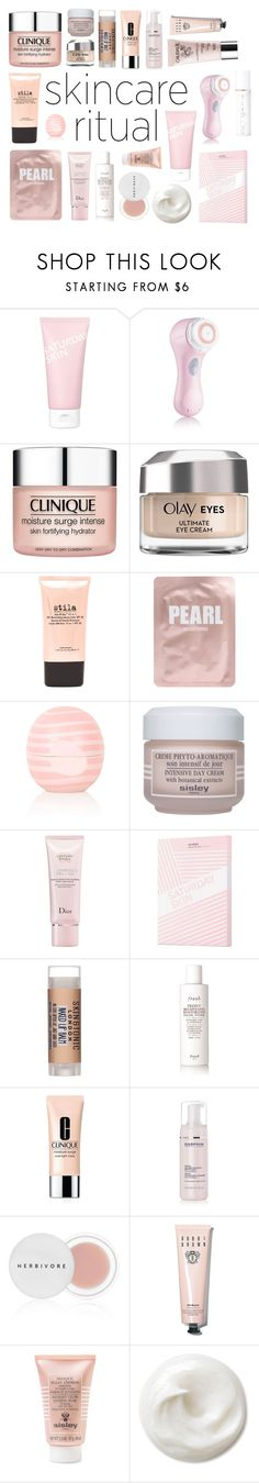 """""""Pearl Pink~"""" by bataesthetic ❤ liked on Polyvore featuring beauty, Saturday Skin, Clarisonic, Clinique, Olay, Stila, Lapcos, Eos, Sisley and Christian Dior"""