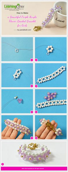 Tutorial on How to Make a Beautiful Purple Acrylic Flower Beaded Bracelet for Girls from LC.Pandahall.com