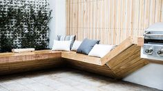 timber seating around planter edge - Google Search