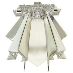 Art Deco Rock Crystal, Diamond & White Gold Stylized Bee Clip