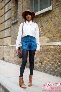 白襯衫 牛仔短褲