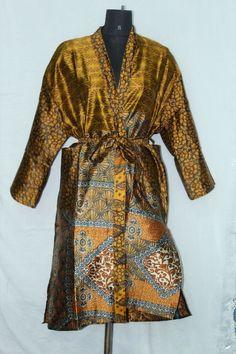 Woman's Vintage Jacket Patchwork Bathrobe Dress Indian Silk Sari Kimono Sk-1048 #Handmade #Kimono #AnyOccasionCasual