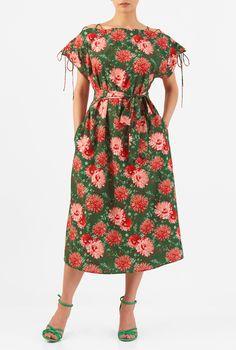, cap sleeve dresses, crepe dresses, green multi dresses, high Neck Dresses, lightweight Dresses, machine wash dresses, Mid-calf length dresses, pocket dresses, Ruched pleat dresses, Shift dresses