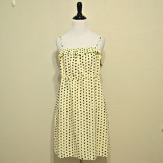 J. Crew Ivory Tank Dress Ivory tank dress with black dotted pattern from J. Crew. Has an elastic waistband and adjustable straps. In excellent condition!  | Measurements | Size: Medium Length: 33.5"