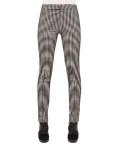 Mara Houndstooth Pants, Black/Cream (Black/Ivory) - Akris punto