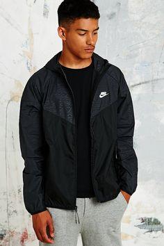 Nike Textured Windbreaker Jacket in Black