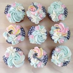 Pretty cupcakes image by Lucy O& on Cakes Fancy Cupcakes, Pretty Cupcakes, Beautiful Cupcakes, Sweet Cupcakes, Flower Cupcakes, Yummy Cupcakes, Blue Cupcakes, Buttercream Cupcakes, Baking Cupcakes
