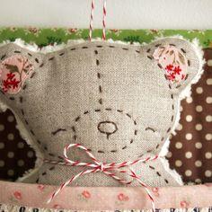embroidered linen bear softie handmade by nanaCompany B_2277pp