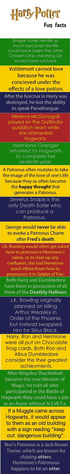 Harry Potter Fun Facts- I am SO upset about the Sirius Black one! If he wouldn't have died, my life would be so much less complicated