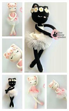 Gato Crochet, Diy Crochet Toys, Crochet Animal Amigurumi, Knitted Animals, Crochet For Kids, Amigurumi Patterns, Crochet Dolls, Crochet Baby, Free Crochet