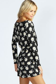 Madeline Daisy Print Jersey Playsuit at boohoo.com