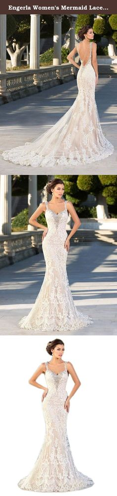 Engerla Women's Mermaid Lace Vintage Beading Backless Champagne Chapel Train Wedding Dress US10. Engerla Women's Mermaid Lace Vintage Beading Backless Chapel Train Wedding Dress Buy it now! You will be the most eye-catching bride on the world! Dresses for Homecoming Party,Evening,Celebrity,Bridal Wedding,Host Gown,Special occasions! Notice:Please Select the Size According to Our Size Chart.Thank you! US2-Bust:32.5inch,Waist:25.5inch,Hips:35.75inch;...