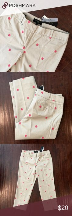 "NWT Talbots Signature Ankle Chino w/ Pink Shells Talbots signature fit chino. Sits below waist / straight through hip and thigh. Size 8 Petitie 22"" inseam 15.5"" waist Talbots Pants Ankle & Cropped"