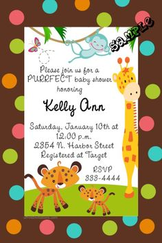 Zoo animals baby shower invitations. Design online, download and print immediately!