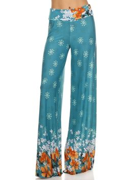 3232 Tribal print, knit palazzo pants with a high fold-over waist and a wide leg at Amazon Women's Clothing store: