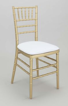 Gold Chiavari Chair with white cushion for each guest -Maria to order these