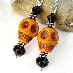 Orange Skull Earrings Halloween Black Crystals Handmade Jewelry OOAK | PrettyGonzo - Jewelry on ArtFire