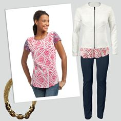 #CAbi - Pair the cheery print of the Coquette Tee with the white, collarless Occasion Jacket, and you'll look polished and super stylish! #SpringOutfits #Fashion