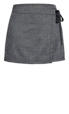 Shop Women's Plus Size Check Tie Skort - grey Plus Size Sale, Plus Size Shopping, Denim Jogger Pants, Geek Underwear, Military Ball Dresses, Plus Size Jumpsuit, New Arrival Dress, Curvy Fashion, Emo Fashion