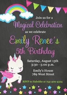 Unicorn Birthday Party Invitation, Rainbow, Chalkboard, Magical - Digital or Printed Unicorn Invitations, Glitter Invitations, Digital Invitations, Birthday Party Invitations, Rainbow Birthday Party, Unicorn Birthday Parties, Unicorn Party, Birthday Ideas, Alice