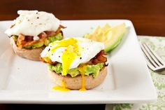 Whole Wheat English Muffin. Avocado. Bacon. Poached Egg.