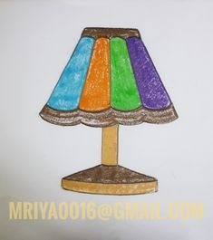 Table lamp painting by RiyaMondal House Drawing For Kids, Drawing Classes For Kids, Basic Drawing For Kids, Easy Drawings For Kids, Kids Art Class, Art Lessons For Kids, Oil Pastel Paintings, Oil Pastel Drawings, Oil Pastel Art