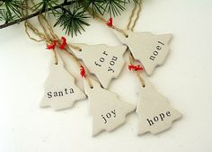 Santa, Noel, Joy, For You, Hope.... A set of five ( 5 ) cute handmade Christmas tree ornaments - gift tag made from off white / cream air dry