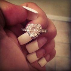 Slide Shank Ring Heart Shaped Diamond Engagement Rings With White Diamonds In 14k White Gold