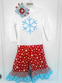 Christmas Outfit Ruffle Pants Red White and Blue by TutsBoutique, $37.00